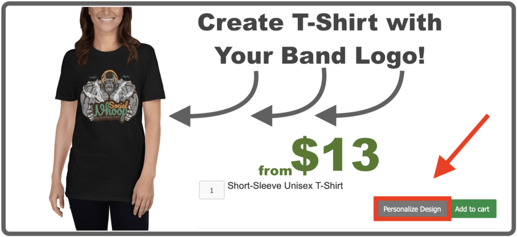 Personalized t-shirts with your band logo