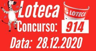Resultado Loteca 914 - Placar dos Jogos
