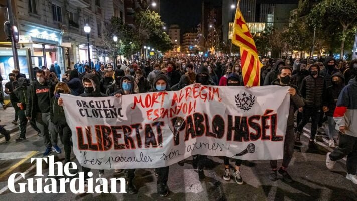 Free speech protests erupt in Spain after rapper's